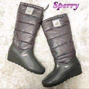 Sperry Gray Waterproof Rain & Snow Wedge Boot 10